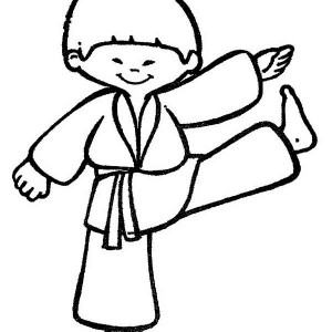 cute karate kid coloring page