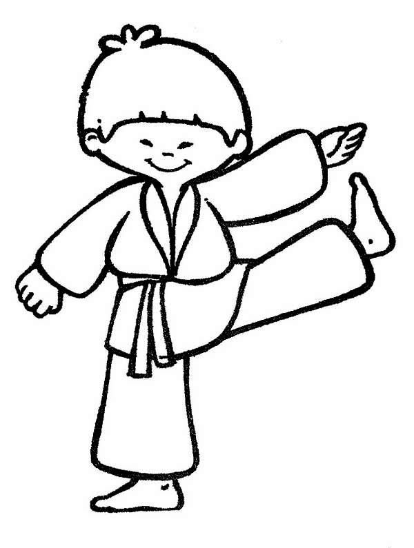 Karate Kid, : Cute Karate Kid Coloring Page