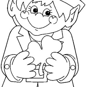 cute leprechaun holding a shamrock on his hand coloring page