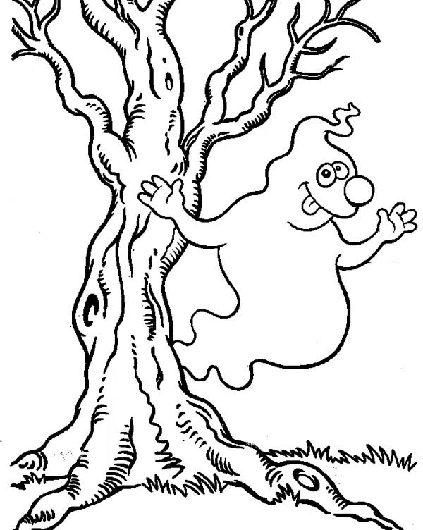 Ghost, : Cute Tree Ghost Coloring Page
