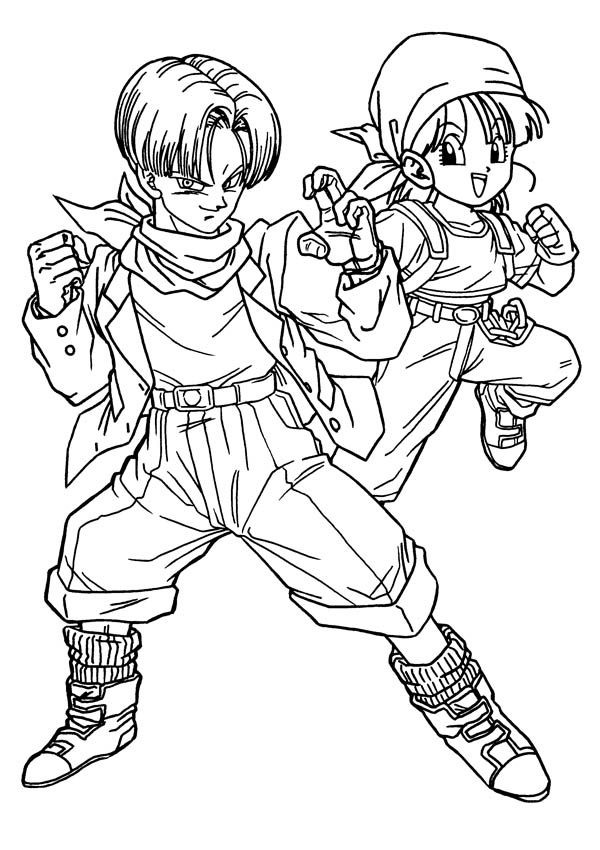 Dragon Ball Z, : Cute Trunks and Bulma Form in Dragon Ball Z Coloring Page