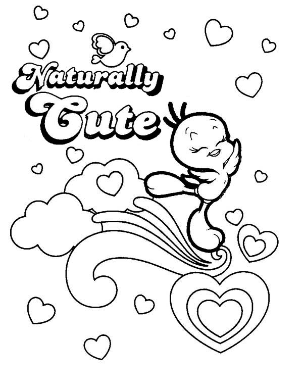 Tweety Bird, : Cute Tweety Bird Coloring Page