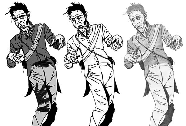 Zombie, : Dancing Zombie Coloring Page