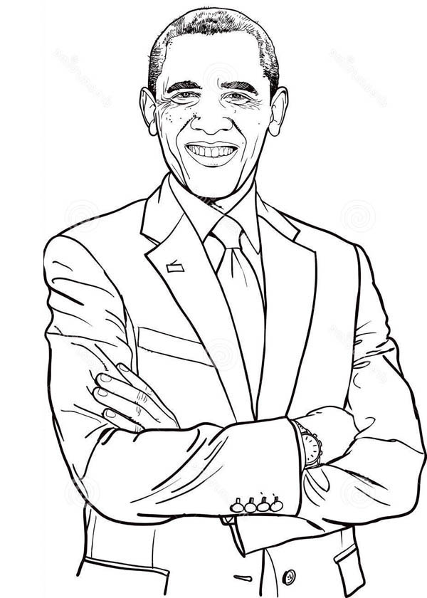 Barack Obama, : Dashing of Barack Obama Coloring Page