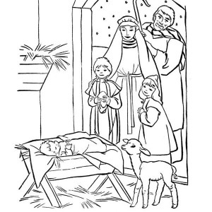 depiction of baby jesus nativity coloring page