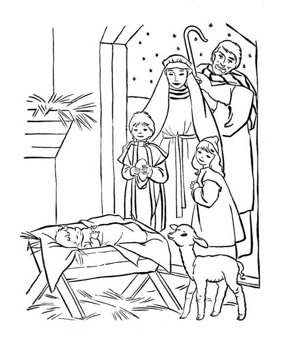 Baby Jesus, : Depiction of Baby Jesus Nativity Coloring Page