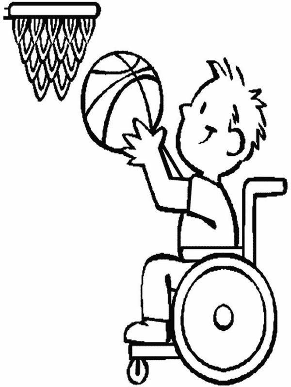 Disability, : Disability Basketball Athlete Coloring Page