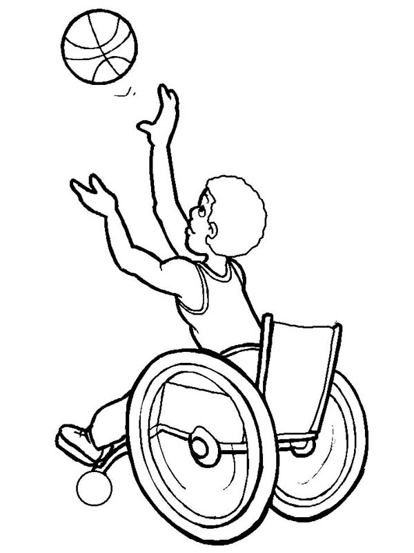 Disability, : Disability Boy Playing Basketball Coloring Page