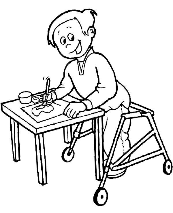 Disability, : Disability Boy with Painting Gift Coloring Page