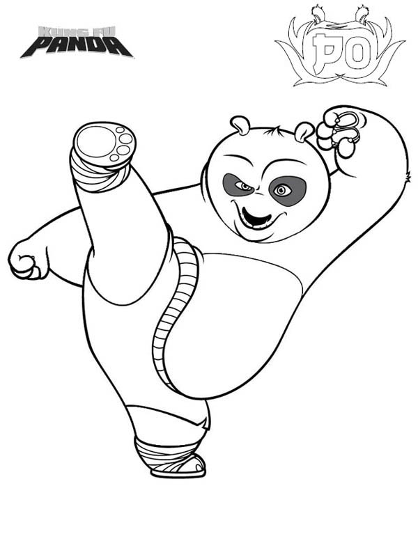 Kung Fu Panda, : Dragon Warrior Kick in Kung Fu Panda Coloring Page