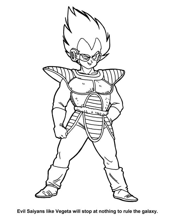 Dragon Ball Z, : Evil Saiyan Vegeta in Dragon Ball Z Coloring Page