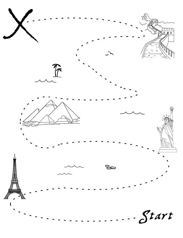 Treasure Map, : Finding Gold with Treasure Map Coloring Page
