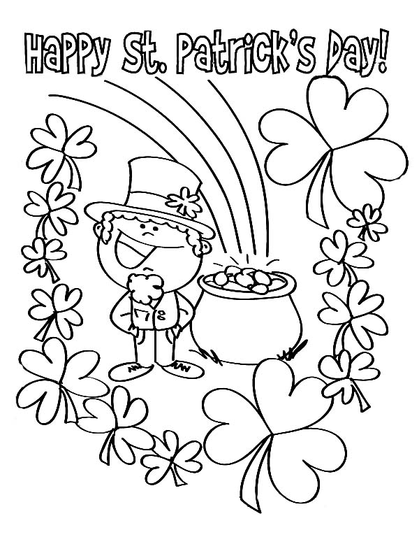 St Patricks Day, : Finding Pot of Gold on St Patricks Day Coloring Page