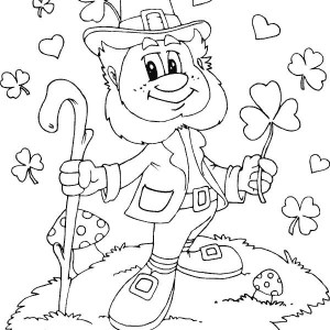 friendly leprechaun with shamrocks everywhere coloring page - Coloring Pages Rainbow Pot Gold