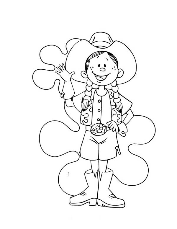 Cowgirl, : Funny Cowgirl Draw Coloring Page