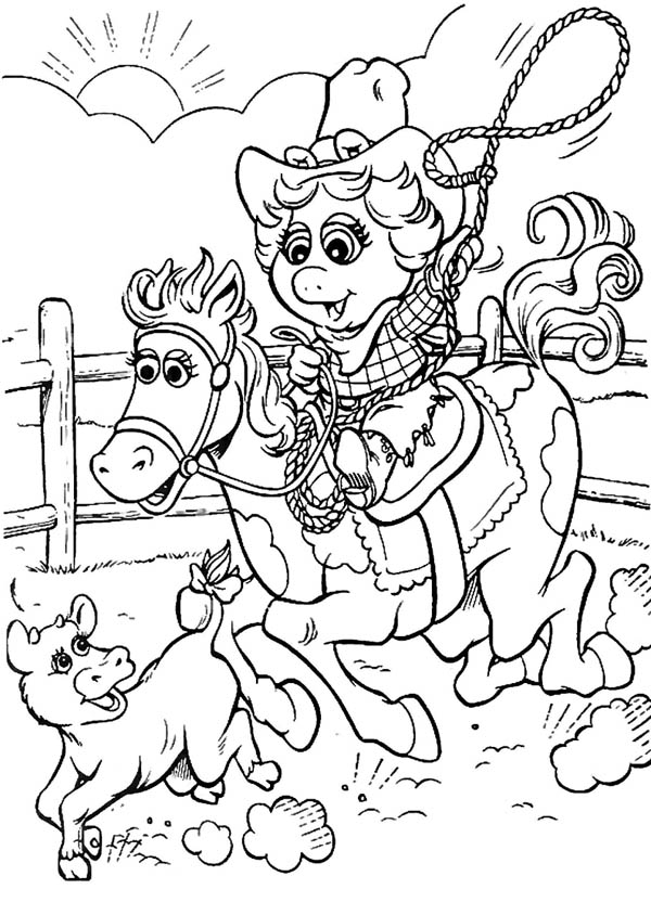 Cowgirl, : Funny Cowgirl Hut Down a Little Cow Picture Coloring Page