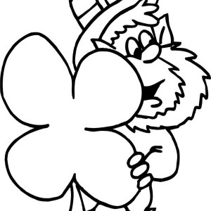 4 clovers and leprechaun in alabama pictures coloring