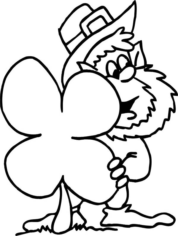 Leprechaun, : Funny Leprechaun Hidding Behind Giant Four-Leaf Clover Coloring Page