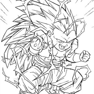 gotenks super saiyan 3 form in dragon ball z coloring page kids excellent kid goku coloring pages - Super Saiyan Goku Coloring Pages