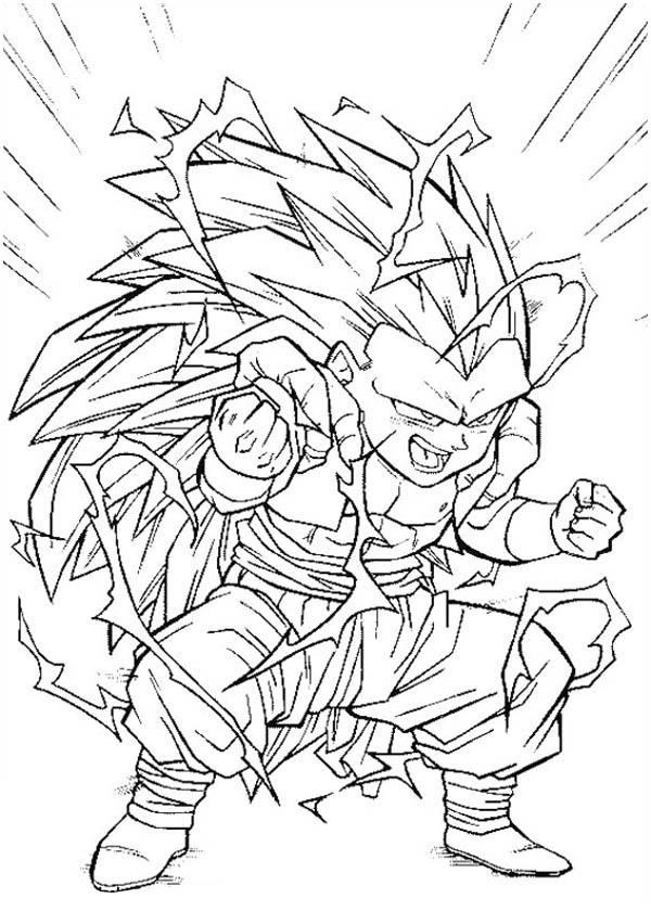 Dragon Ball Z, : Fusion Gotenks Super Saiyan 3 Form in Dragon Ball Z Coloring Page