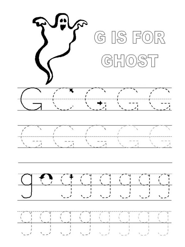 Ghost, : G is for Ghost Coloring Page