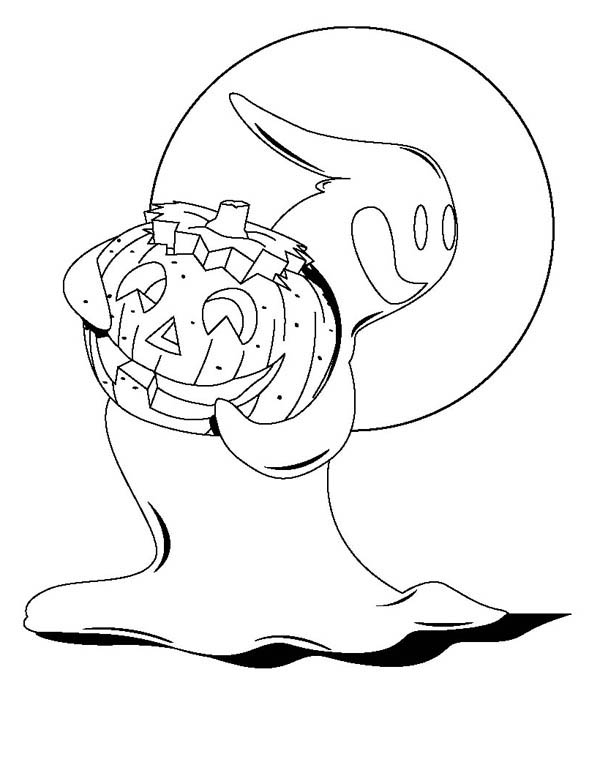 Ghost, : Ghost with Pimpkin Ghost Coloring Page