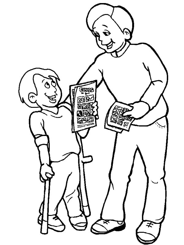 Disability, : Giving Comic Book a Boy with Disability Coloring Page
