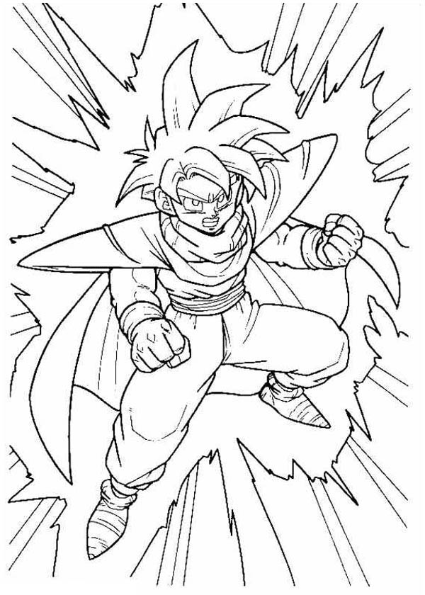 Dragon Ball Z, : Gohan is Very Angry to Cell in Dragon Ball Z Coloring Page