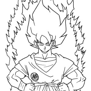 goku first super saiyan form in dragon ball z coloring page - Dragon Ball Coloring Pages Goku