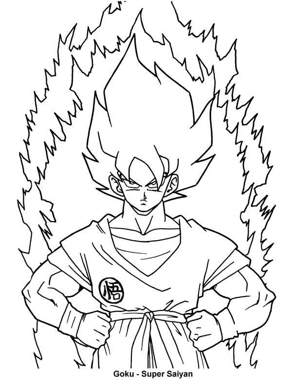 Dragon Ball Z, : Goku First Super Saiyan Form in Dragon Ball Z Coloring Page
