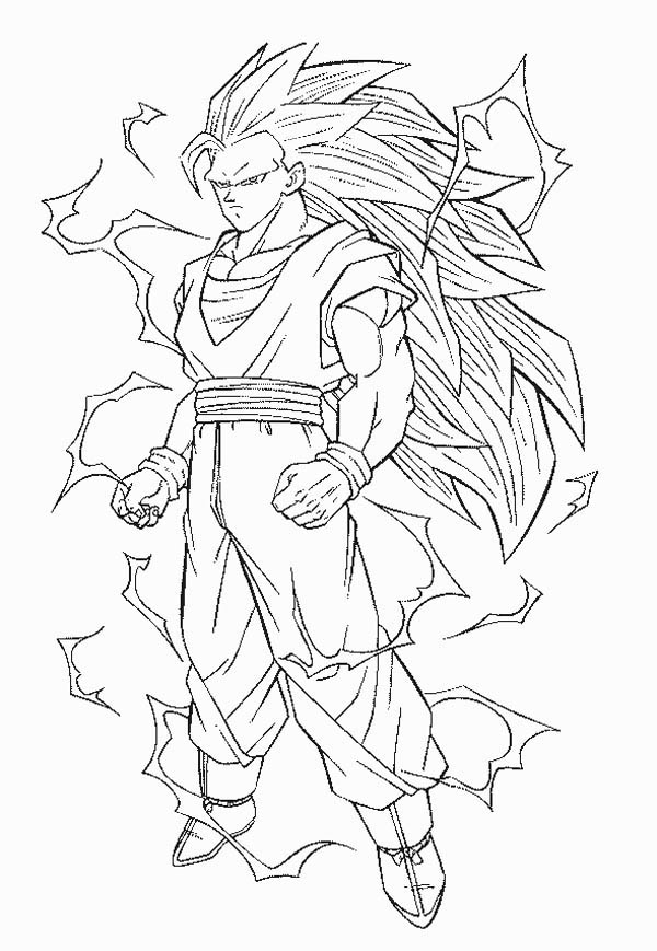 Goku Super Saiyan 3 Form In Dragon Ball Z Coloring Page