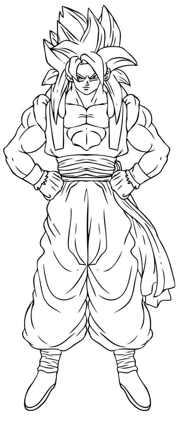 Dragon Ball Z, : Goku Super Saiyan 4 Form in Dragon Ball Z Coloring Page