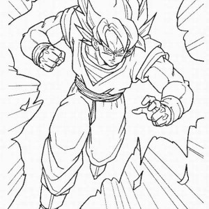 goku super saiyan form in dragon ball z coloring page - Dragon Ball Coloring Pages Goku
