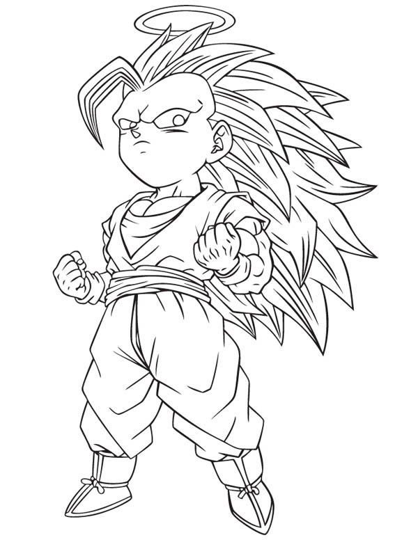 Dragon Ball Z, : Gotenks Super Saiyan 3 Form in Dragon Ball Z Coloring Page