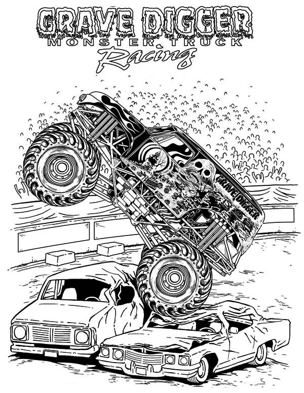 Monster Truck, : Grave Digger Monster Truck Coloring Page