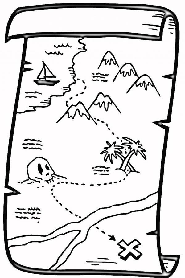 Treasure Map, : Great Pirate Treasure Map Coloring Page