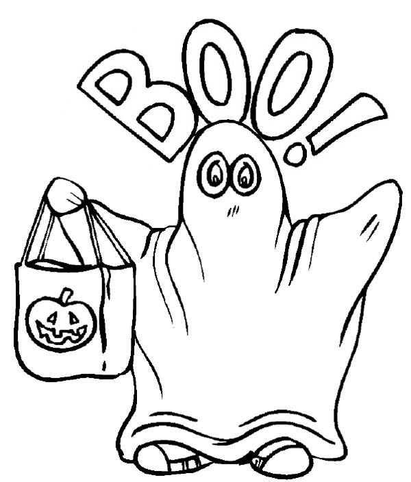 Ghost, : Halloween Ghost Costume Coloring Page