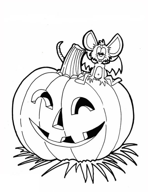 Pumpkins, : Halloween Pumpkins and Dracula Mouse Coloring Page