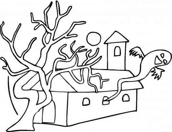 Haunted House, : Halloween Theme Haunted House Coloring Page