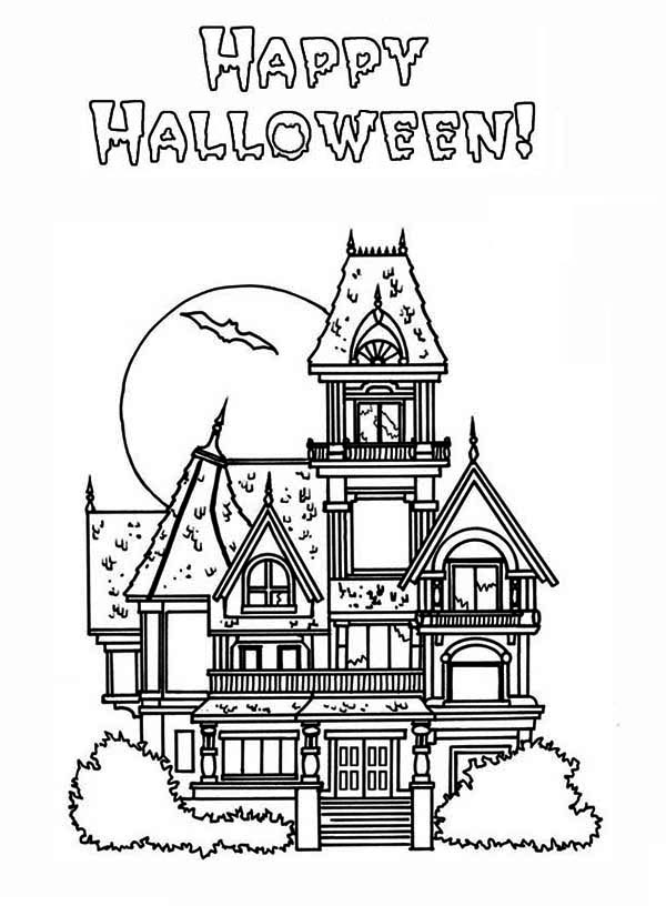 Haunted House, : Happy Halloween in Haunted House Coloring Page