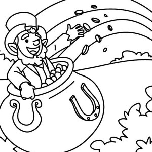 happy leprechaun singing a st patricks day song coloring page - Coloring Pages Rainbow Pot Gold