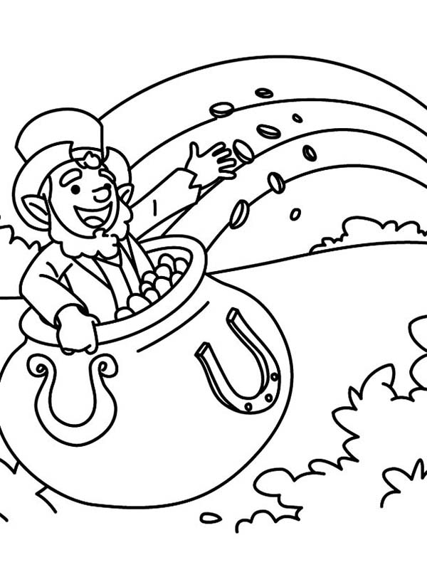 Leprechaun, : Happy Leprechaun Singing a St Patricks Day Song Coloring Page