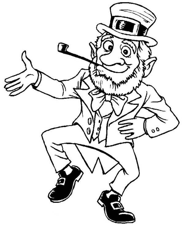 Leprechaun, : Happy Leprechaun Welcoming St Patricks Day Coloring Page