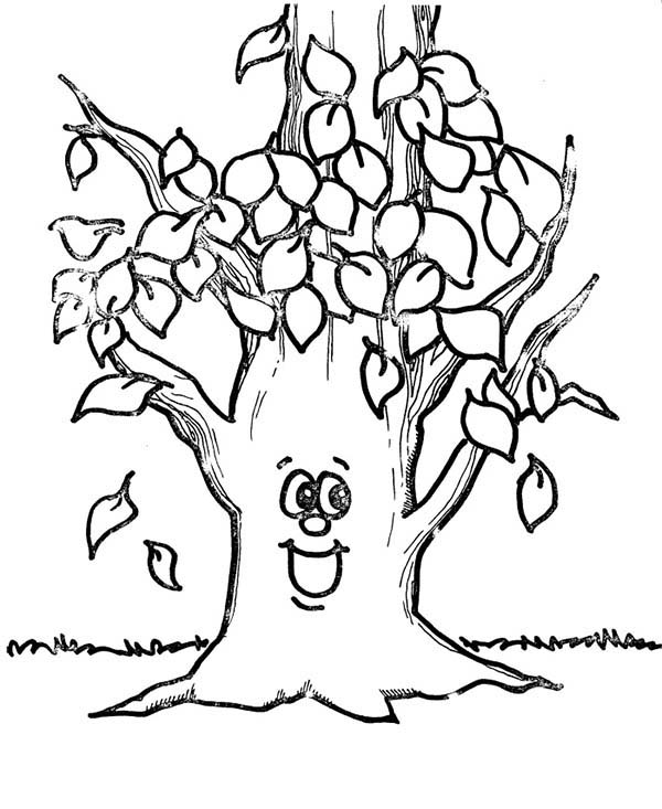 Fall Leaf, : Happy Tree Fall Leaf Coloring Page