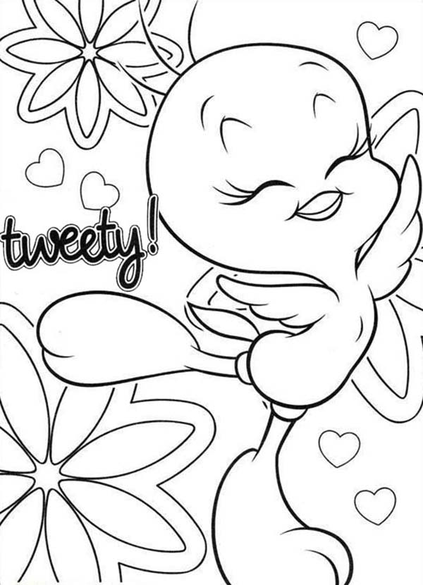 Tweety Bird, : Happy Tweety Bird Coloring Page