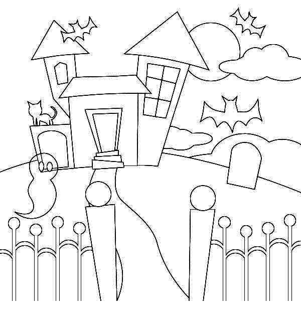 Haunted House, : Haunted House Picture Coloring Page