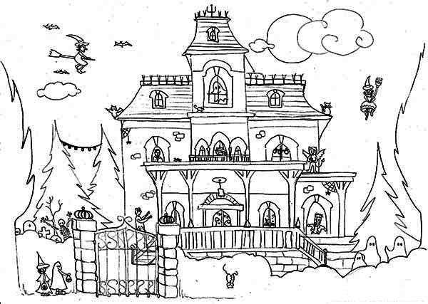 Haunted House, : Haunted House and Satanic Cat Coloring Page