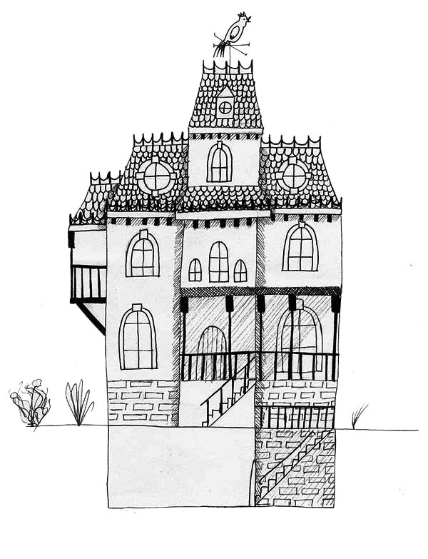 Haunted House, : Haunted House with Basement Coloring Page