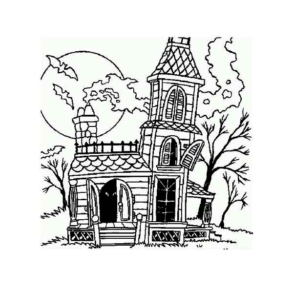 haunted house with chimney coloring page