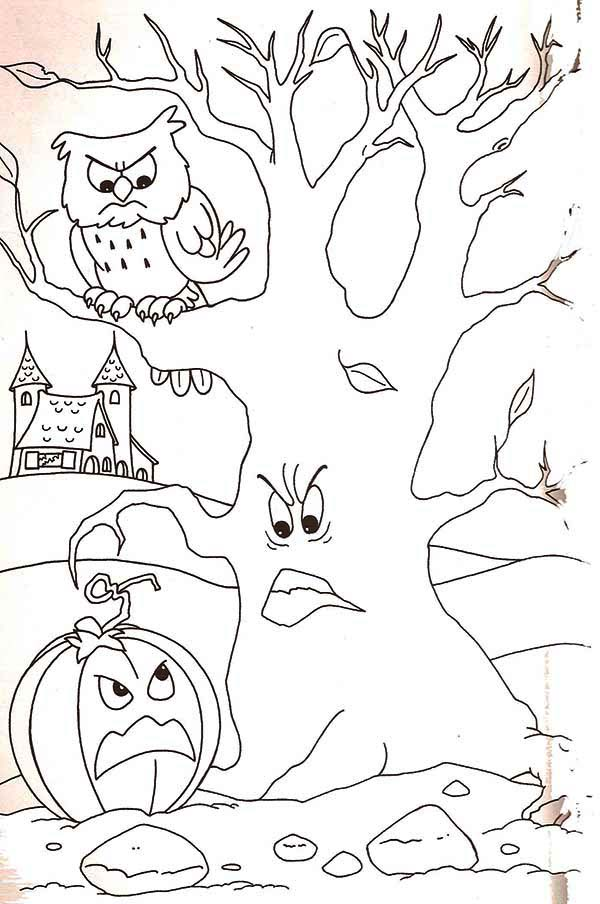 Haunted House, : Haunted House with Ghost Tree Coloring Page
